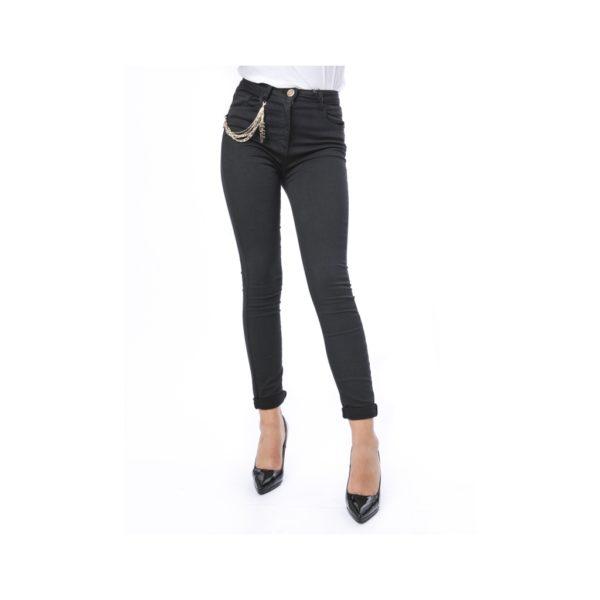 pantaloni-skinny-con-catena-laterale-con-logo-nero